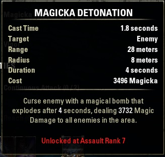 Alliance Rank skills Magicka Detenation
