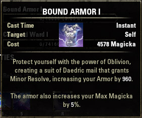 oblivion how to get bound armor