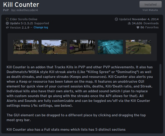 Kill Counter addon for Elder Scrolls Online