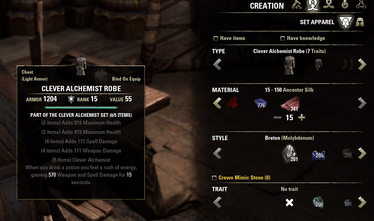 Trait Crafted Sets Eso